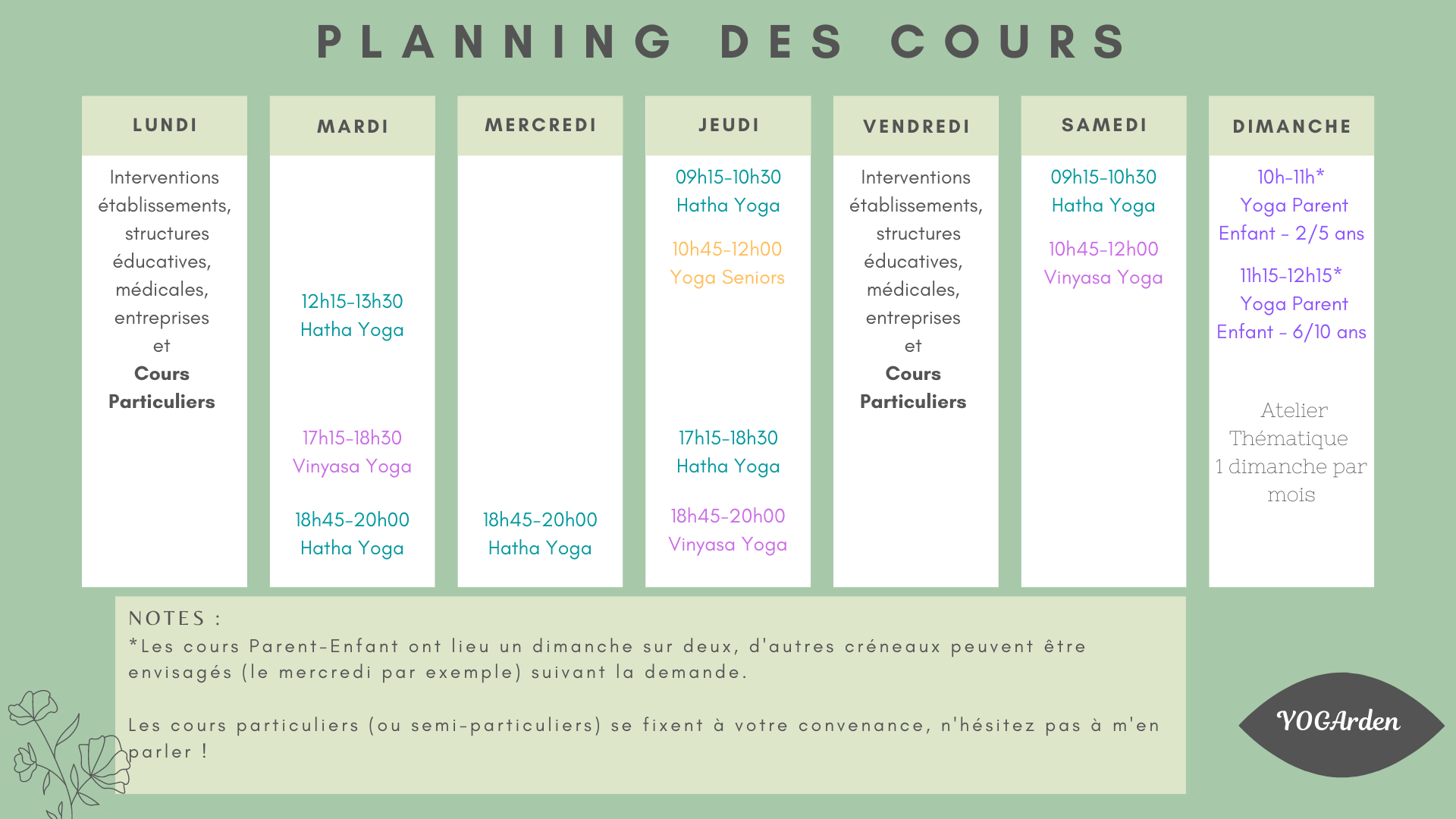 planning cours yoga